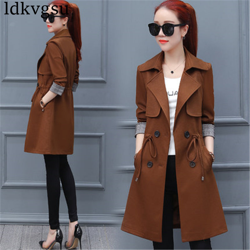2019 New Long Windbreaker Female Spring Autumn Women Coats Korean Fashion Chic Waist Wild Casual   Trench   Outerwear A837