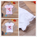 Retail Anna Elsa Girls T Shirt Kids Summer Short Sleeve Tshirt for Girl Children Bowknot Casual Baby Tops Tees White/Pink