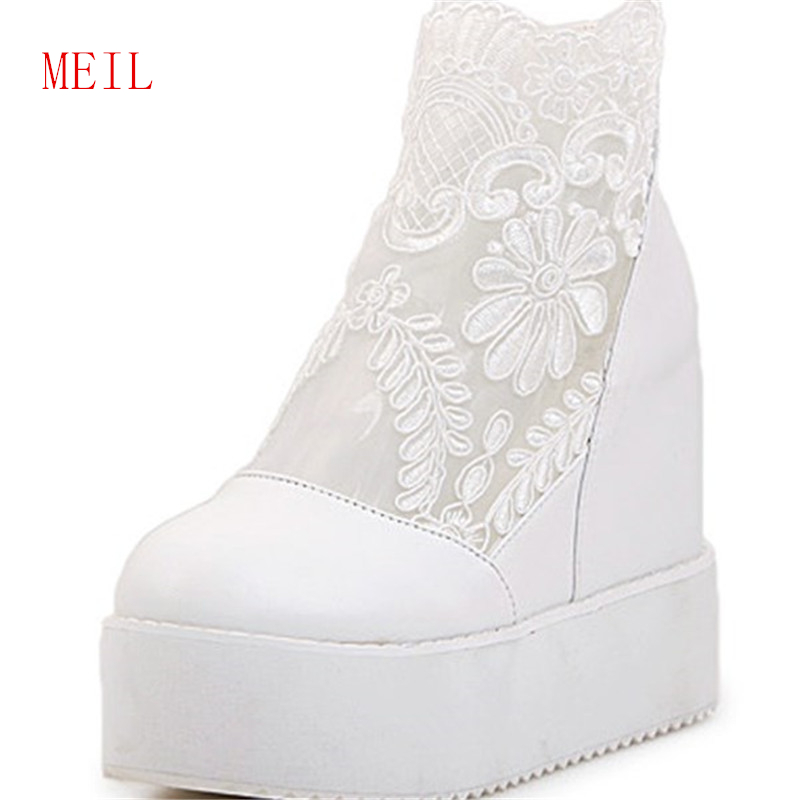 2019 New Height Increasing Wedge Sandals Platform Thick Bottomed Sweet Lovly Lace Flower Slope Womens Shoes Heels