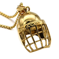 HIP Hop Bling Gold Plated Titanium Stainless Steel Punk Gothic Baseball Cap Helmet Pendants Necklaces For
