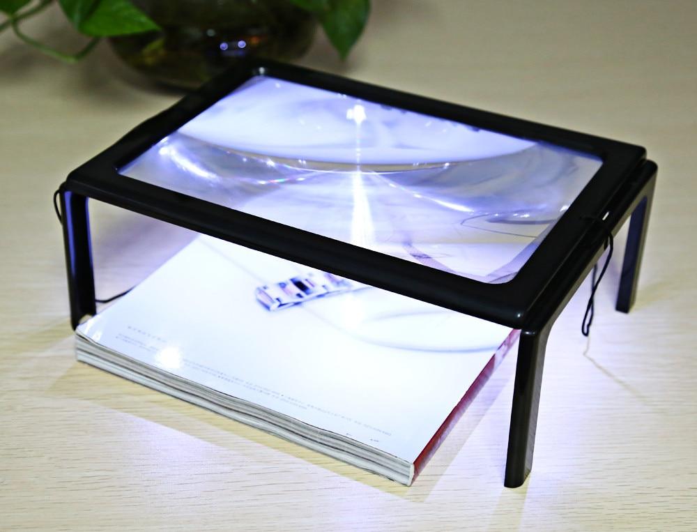 led lights foldable desk a4 full page large reading magnifier with. Black Bedroom Furniture Sets. Home Design Ideas
