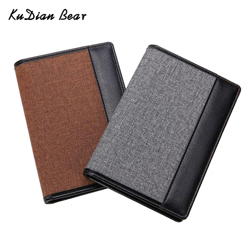 KUDIAN BEAR Leather Passport Cover Men Travel Credit Card Holder Cover Russian Passport Wallet For Document-- BID146 PM49