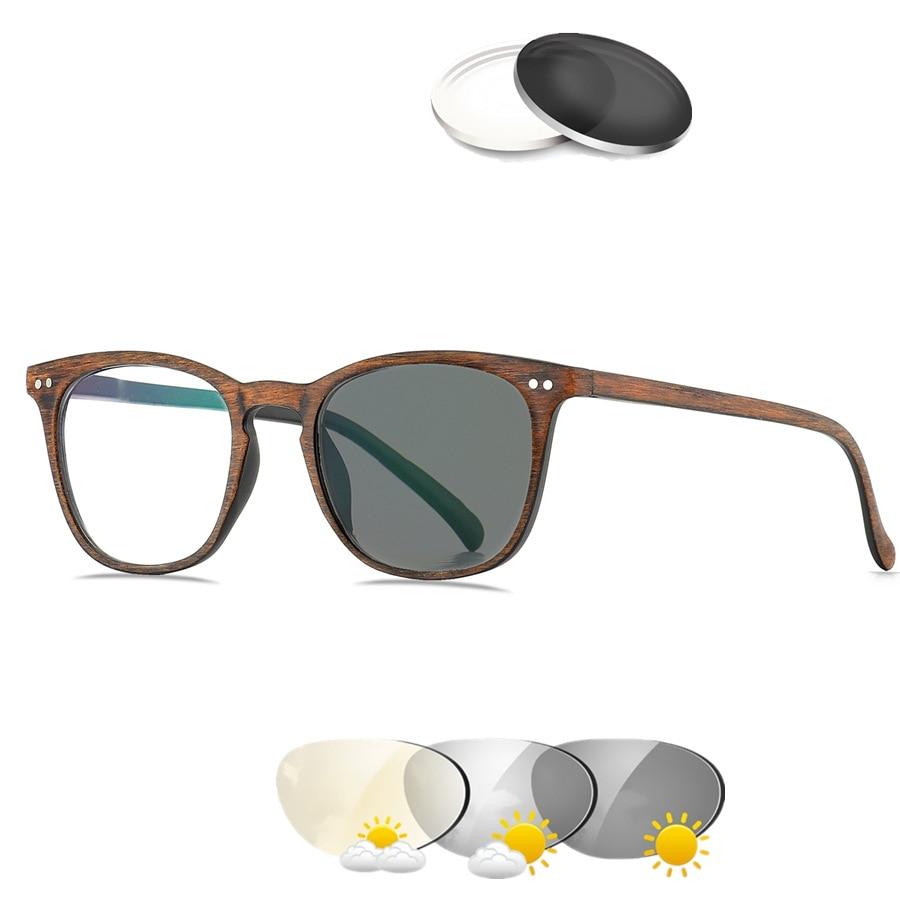 Logorela Reading&Photochromic Prescription Glasses Retro Colored Clear Reading Optical Transparent Sight Presbyopia