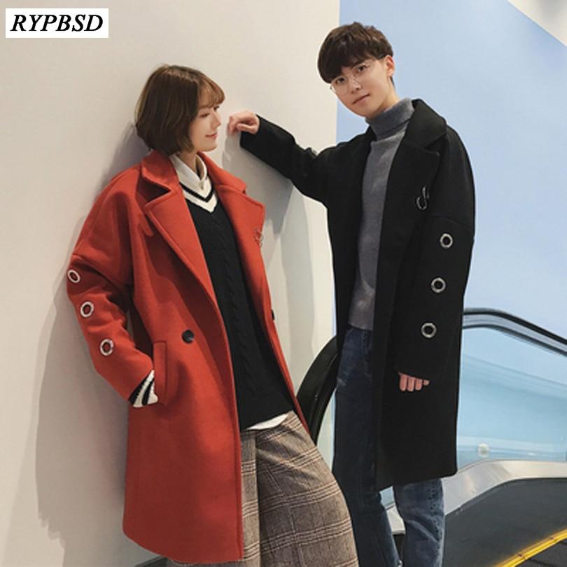 2019 Herbst Winter Koreanische Mode Neue Männer Woolen Mantel Zweireiher Mantel Männer Casual Schwarz Oberbekleidung Jacke Plus Größe Xxl