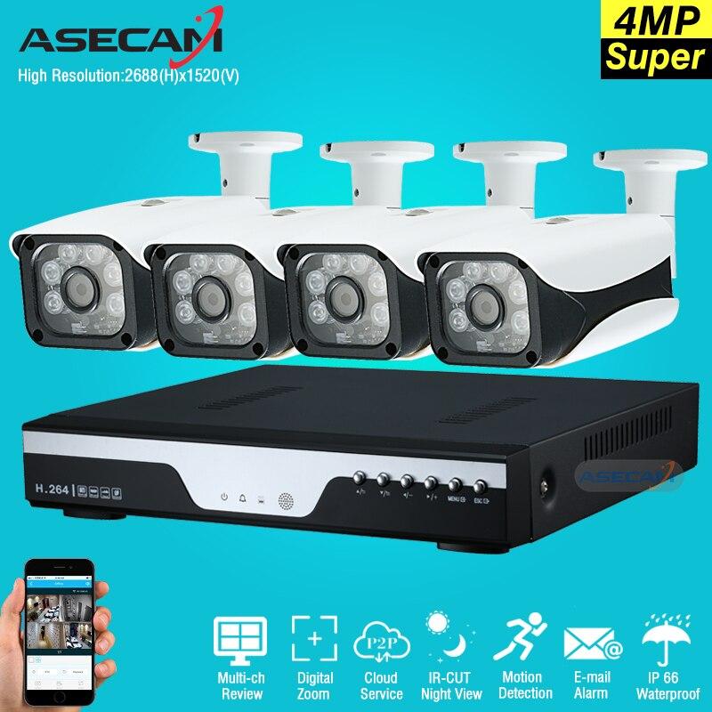 Caliente 4Ch súper Full HD 4MP AHD CCTV Cámara DVR grabador de video home seguridad al aire libre sistema de cámara kit 6LED matriz vigilancia P2P