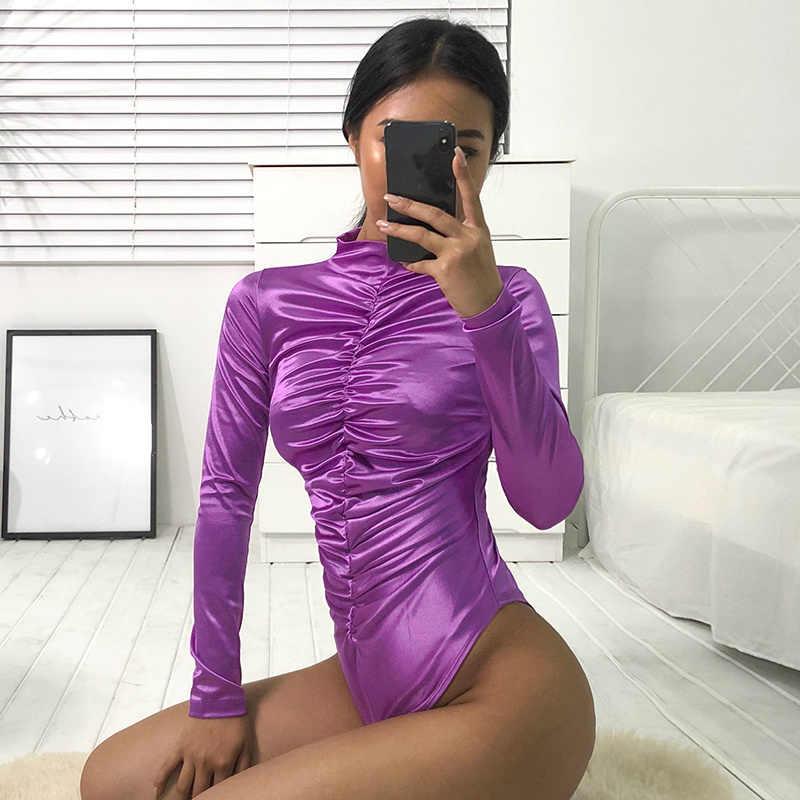 7 Манг осень 2019 г. блеск Ruched комбинезон с воротником для женщин Элегантный боди с длинными рукавами пикантные Фиолетовый Bodycon комбинезон