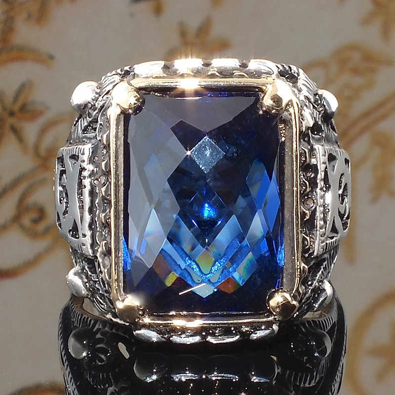 Fashion Square Sea Blue CZ Stone Ring Crystal Rings For Women Wedding Engagement Party Ring Carved Jewelry Gift O5Q939
