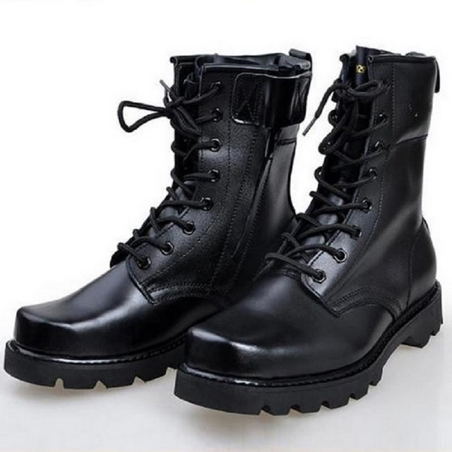 Mens Military BootsBlack Leather Non-slip Lace-up Winter Hiking Boots Shoes for Men army Combat ankle Platform Boots 20CM High