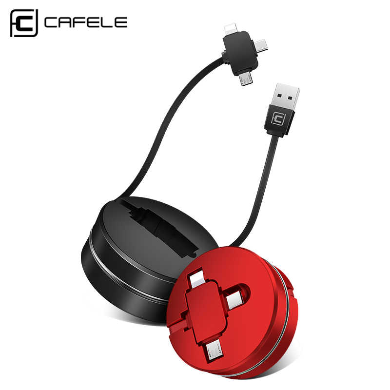 CAFELE USB Micro Cable Type C Cable for Samsung Huawei Xiaomi Charging Cable for iphone 8 7 6 Universal Retractable 3 in 1 Port