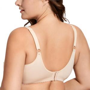 Image 2 - Womens Full Coverage Lace Plus Size Wireless Non Padded Cotton Bra 34 48 B C D DD E F G H I J
