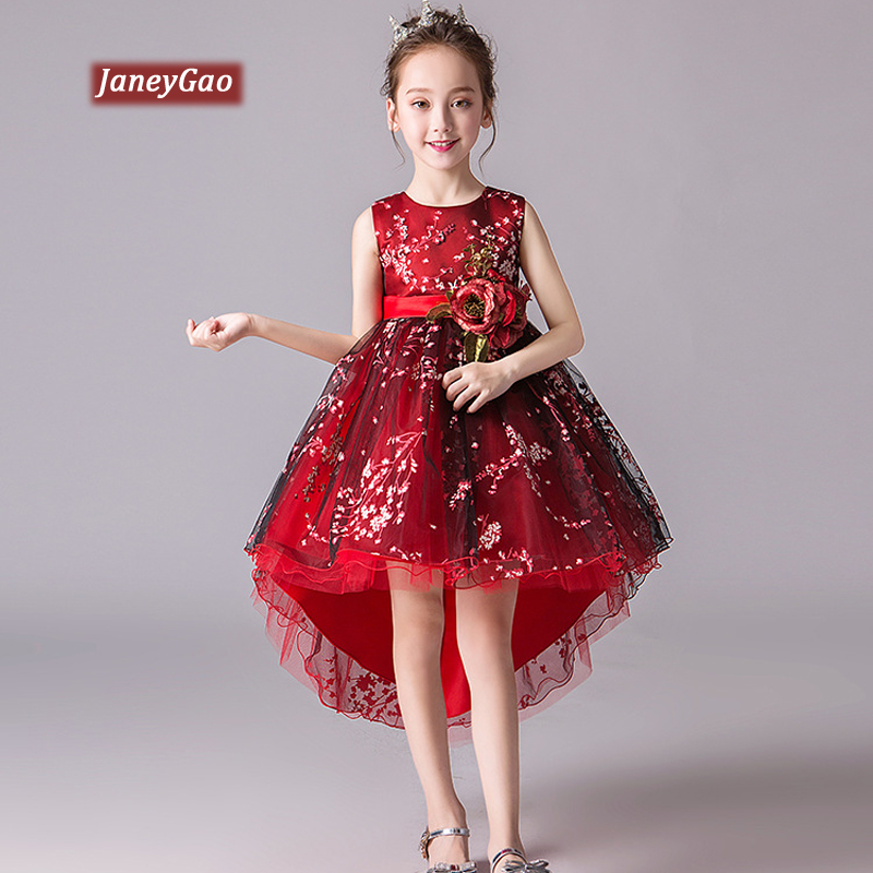 JaneyGao   Flower     Girl     Dresses   For Wedding Party With Applieques 2019 Summer New   Girl   Formal Low High Little   Girl   Princess Gown