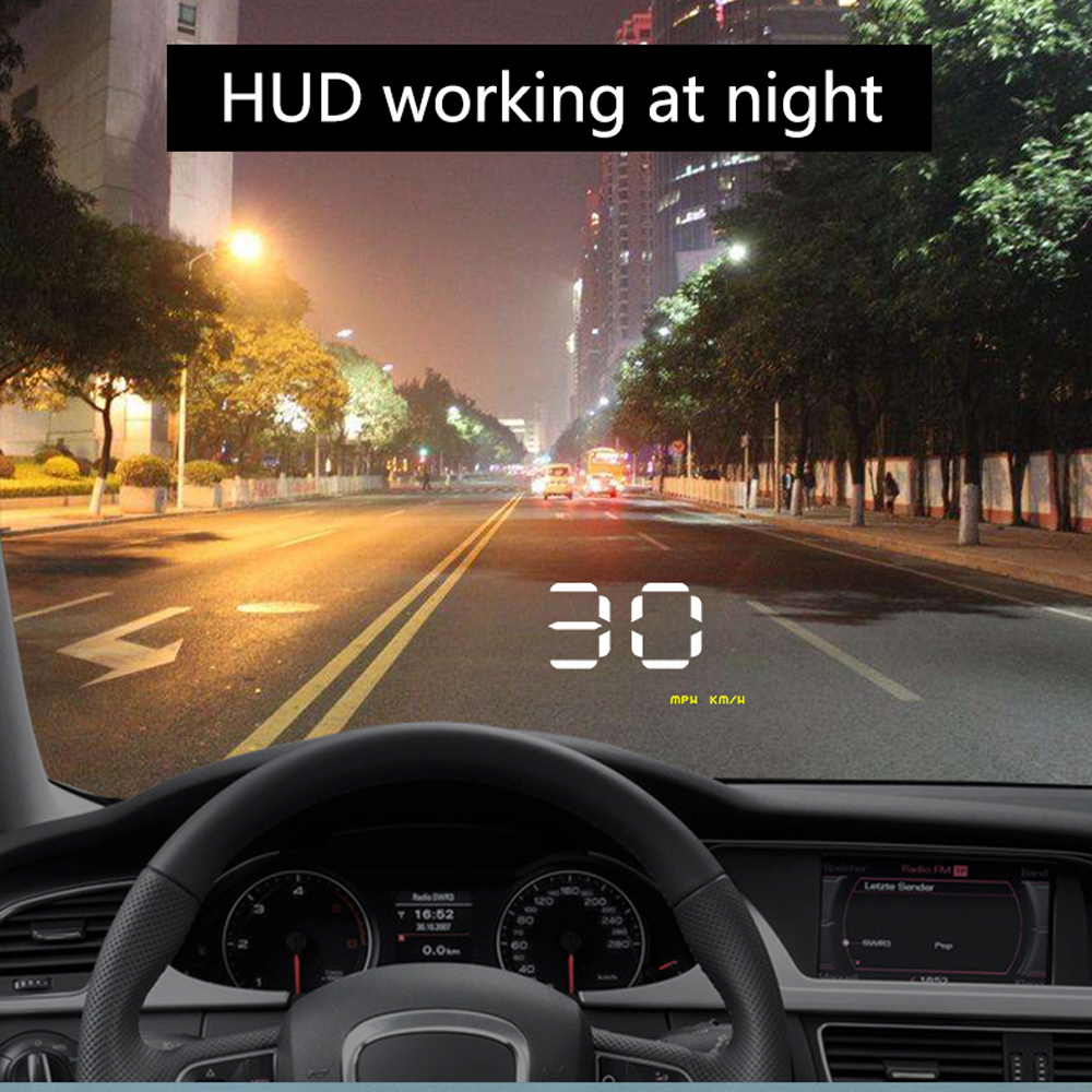 """Image 2 - Simple Number show HUD Digital Car Speedometer Auto 3.5"""" Head Up Display Windshield Projector Auto Power on/off CHADWICK A1000-in Head-up Display from Automobiles & Motorcycles"""