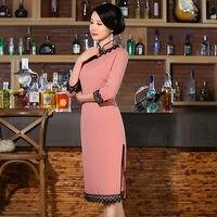 Màu hồng Thanh Lịch Trung Quốc Womens Bông Sườn Xám Bán Hot Truyền Thống Phong Cách Đầu Gối chiều dài Cái Yếm Váy Vestido Kích Thước Sml XL XXL 27649A