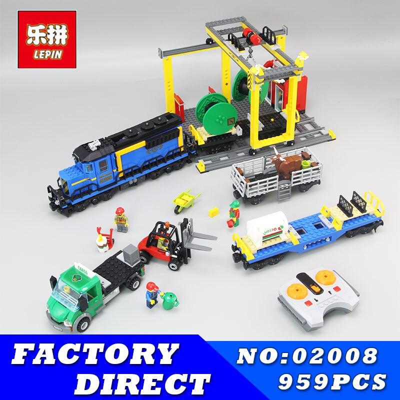 Lepin 02008 959Pcs City Explorers Cargo Train Forklift Truck Crane Remote Control Building Blocks Bricks Toys for Children 60052