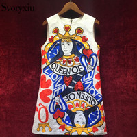 Svoryxiu 2018 Runway Brand Summer Tank Short Dress Women S Chic Sequined Playing Cards Print Jacquard