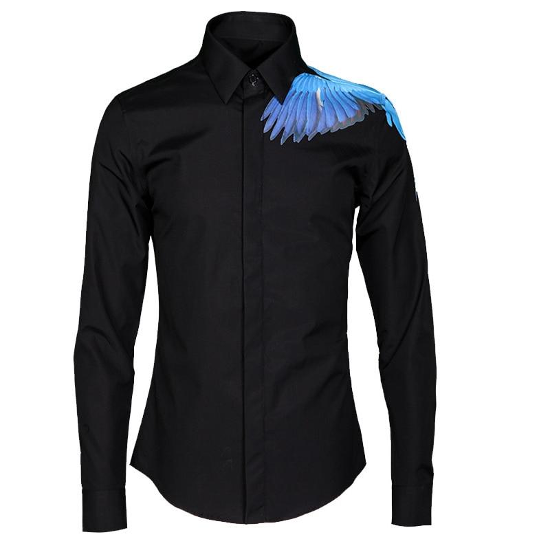 Best buy ) }}Luxury Bird pattern Men Shirt 2017 Autumn Fashion Brand Male Long Sleeve Slim Fit