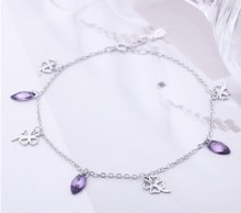 Fortunate Four Leaf Clover Bells Anklet Fashion Jewelry S925 Silver Valentine Gift Purple Drill Zircon F160401