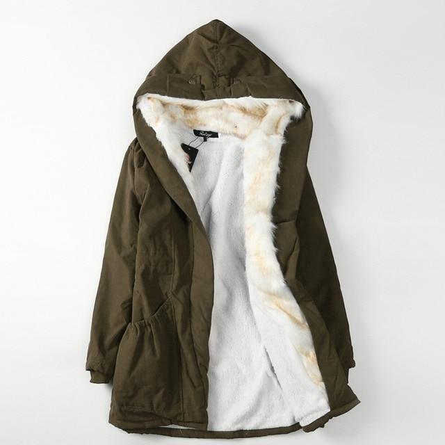 e7308adad8c79 New Winter Women Parka Casual Outwear Military Hooded Coat Winter Jacket  Women Fur Lined Coats Plus