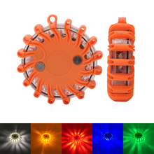 Super Bright 16 LED Round Warning Beacon Emergency Strobe Flashing Lights Car Roof Police Lightbar Road Safety Light Magnetic high power 240 led car roof flashing strobe beacon warning light magnet police led emergency flare vehicle lightbar 12v 6 colors