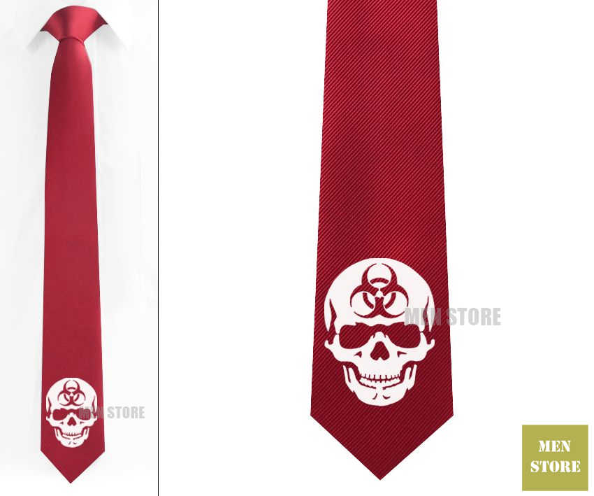 """Прохладный Biohazard череп символ Мужской Жаккардовый тканый облегающий узкий 2,5 """"галстук 6 см Галстук Свадебная вечеринка галстук для жениха запонки LK032M"""