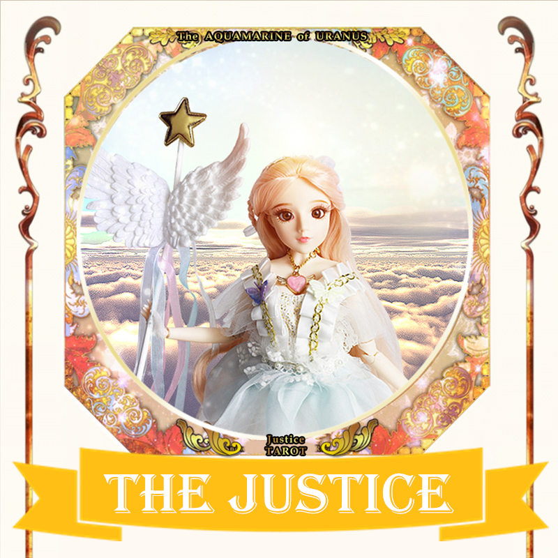 MM girl Major Arcana The Justice joint body doll pale pink hair TAROT CARD 34cm East Barbi the classic tarot карты