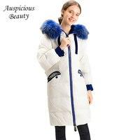 2018 New Winter Women Down Coats Warm White Duck Down Jacket Ladies Hooded Blue Fur Collar Embroidery Flower Outwear CX272