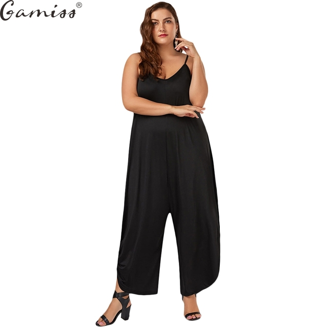 fb81011a19e Gamiss Plus Size 7XL Low Cut Spaghetti Strap Baggy Jumpsuit Casual High  Waisted Maxi Harem Bodysuit Fashion Women Party Jumpsuit