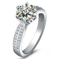 925 Sterling Silver Simulation Diamond 2 Carat High Grade Wedding Rings New Women Big Rings 2015