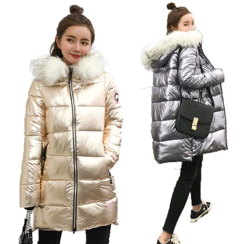 Fashion Metal Golden Silver Bright Hooded Jacket Coat