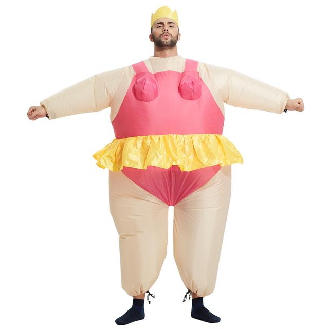 inflatable ballerina dancer costume adult polyester halloween costumes inflatable costumes fancy dress fat funny suits - Halloween Costume Pink Dress