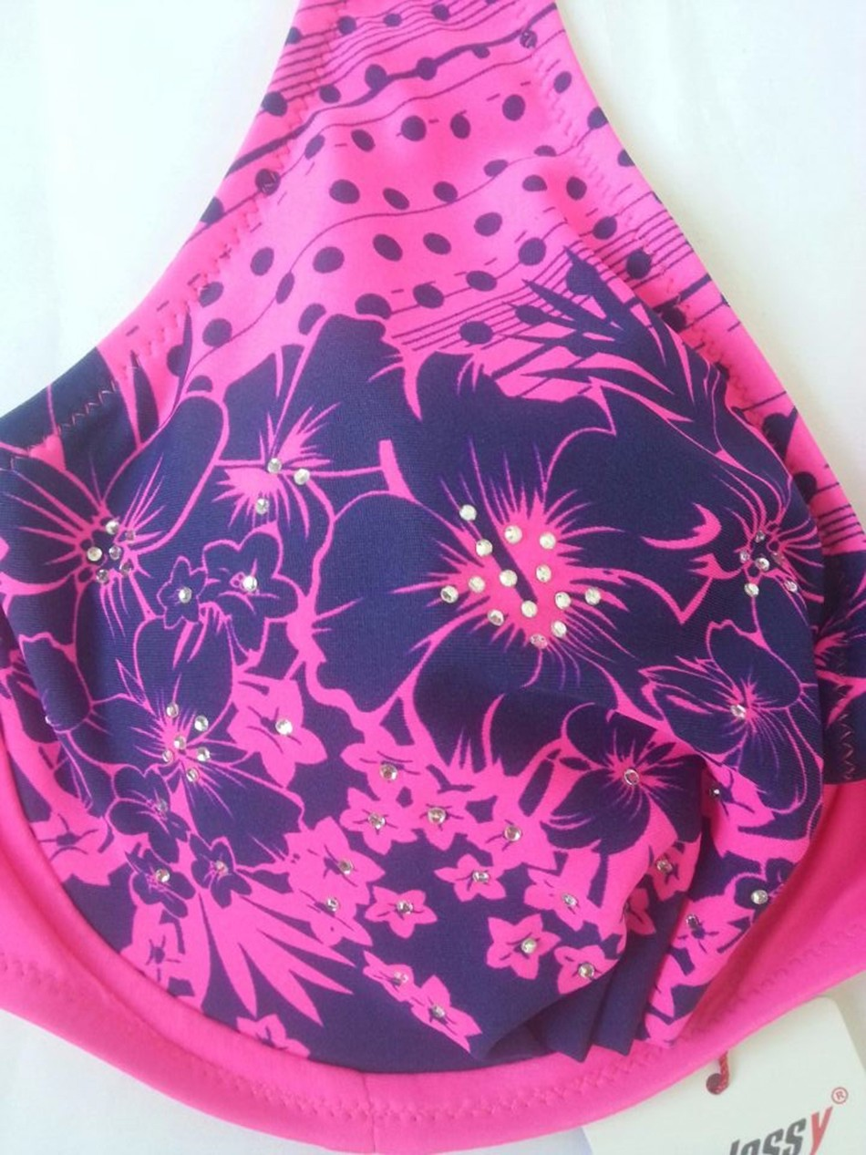 19 Large Size Middle Waist Lacing Bikini Swimwear E F G Bra Soft Cup Bikinis Set Swimsuit Triangle Bathing Suit 8