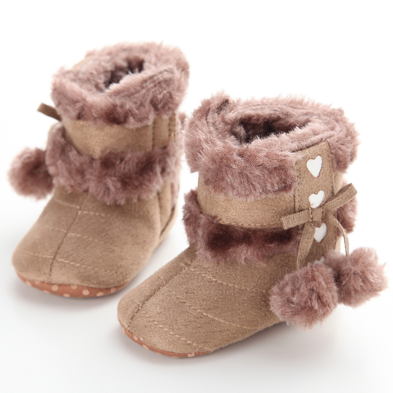 85ab7ad3a14f5 US $4.0 12% OFF|Fashion Cheap White Winter Girl Boots Fleece Baby Shoes Bow  Balls Infant Girls Wool Snow Crib Sneakers Soft Sole Toddler Booties-in ...