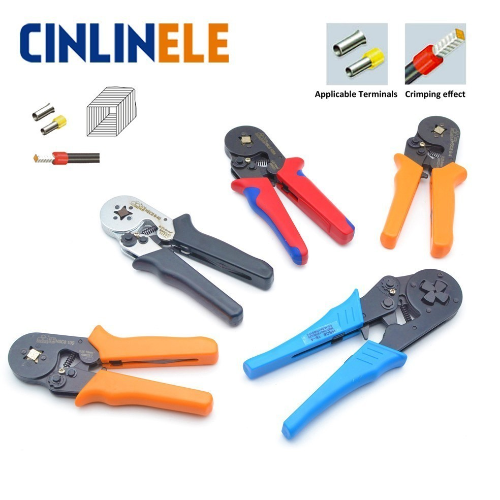 Free Shipping HSC8 10S 0.25-10mm 23-7AWG Crimp Pliers Tube Bootlace Terminal Crimping Hand Tools Range Exceeds HSC8 6-4