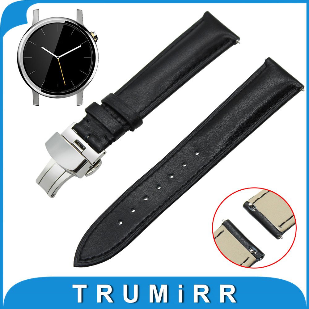 20mm Genuine Leather Watch Band Quick Release Strap for Motorola Moto 360 2 42mm Men 2015 Butterfly Buckle Wrist Belt Bracelet зажигалка zippo classic high polish brass 1654b