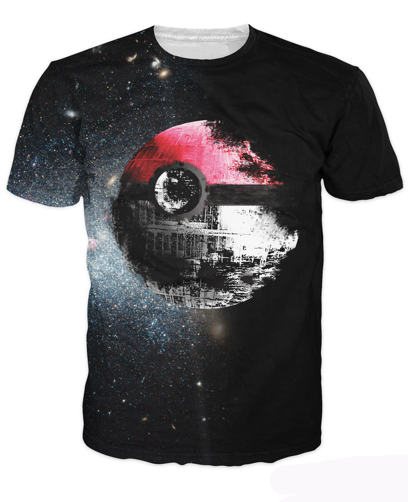 Pokeball Deathstar T Shirt Sexy Tee Pokemon And Star Wars Vibrant T Shirt Summer Style Casual