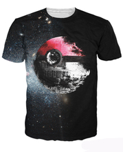 Pokeball Deathstar T-Shirt Sexy Tee Pokemon And Star Wars Vibrant T Shirt Summer Style Casual Tops Pullover For Unisex Women Men