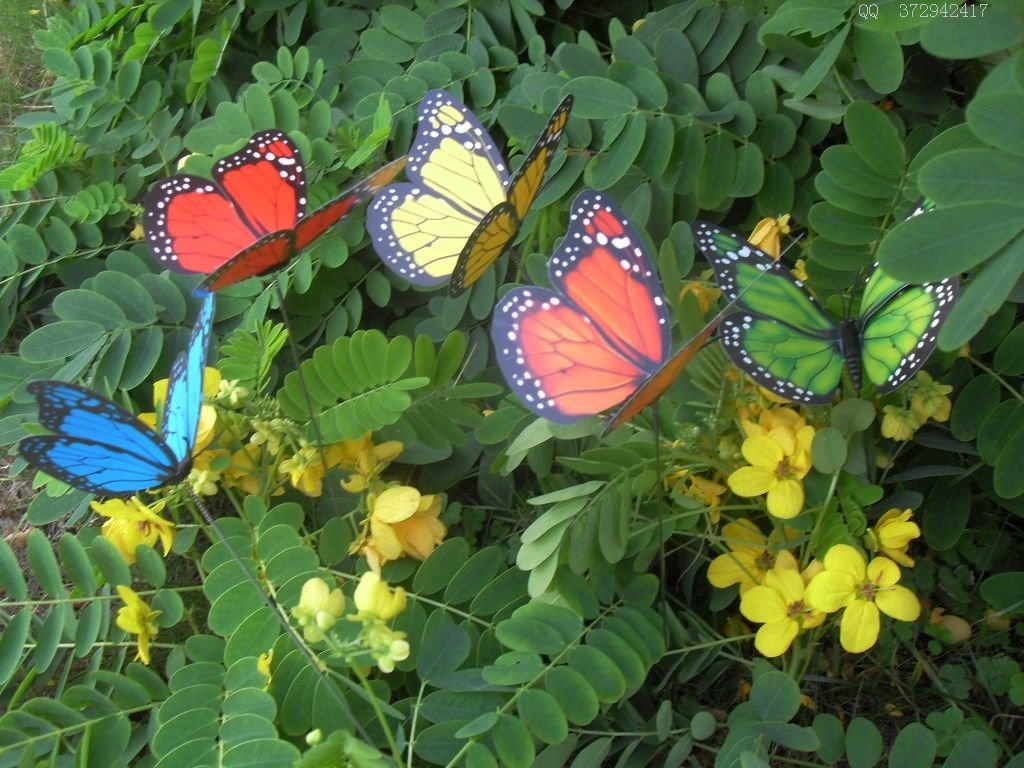88pcs/lot 12cm Vivid Wiggling PVC Butterfly w/ Metal Stem Home ...