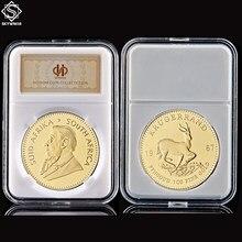 Pièce de monnaie de jeton en or plaqué or, réplique de Krugerrand, afrique du sud, 1OZ, avec Capsule acrylique, 1967