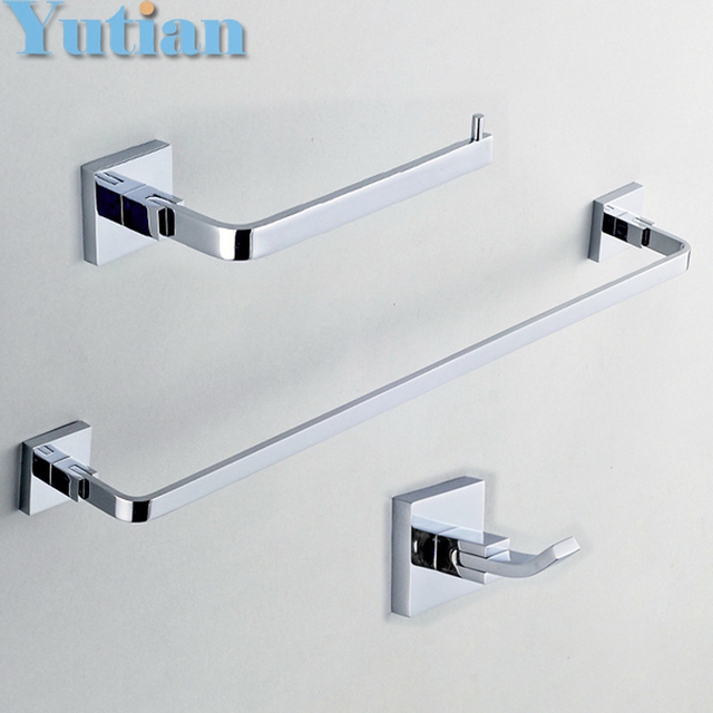 free shippingsquare brass chrome bathroom accessories setrobe hookpaper holder - Square Bathroom Accessories Chrome