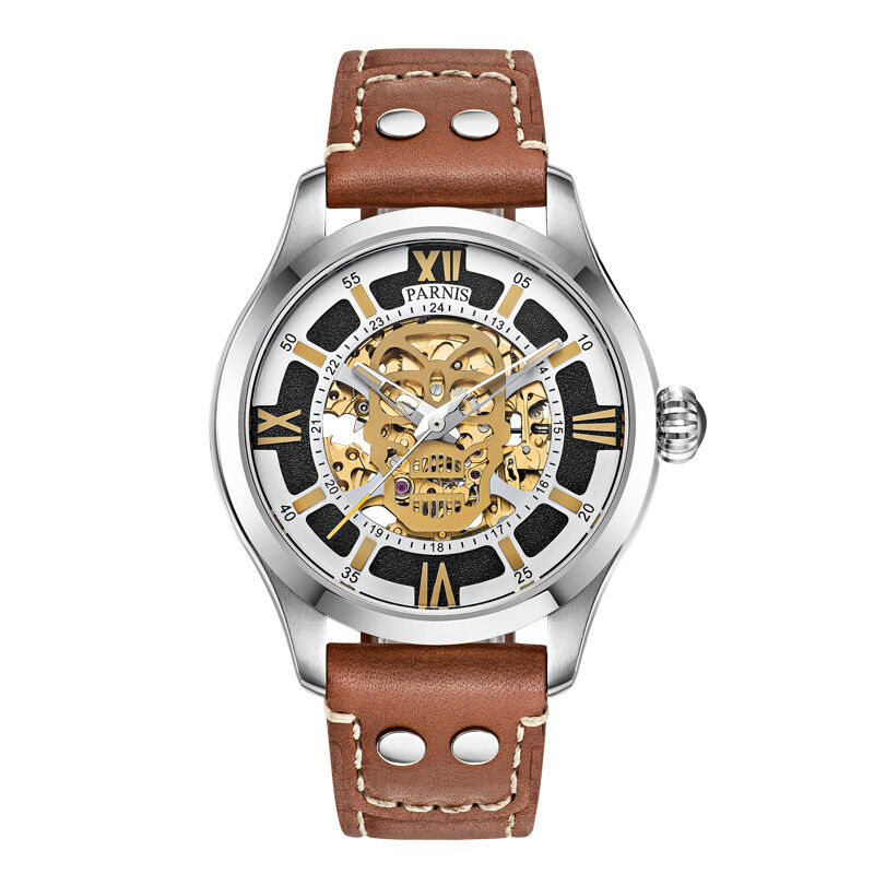 Parnis SKULL II Seriers Luminous Mens Leather Watchband Fashion Automatic Self Wind Mechanical Watch Wristwatch