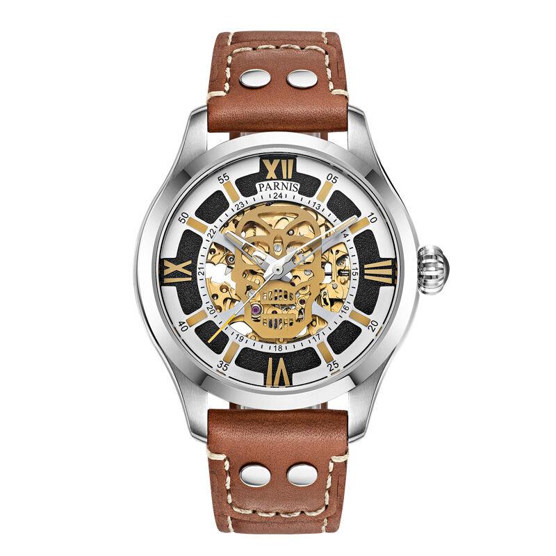 Parnis SKULL II Seriers Luminous Mens Leather Watchband Fashion Automatic Self Wind Mechanical font b Watch
