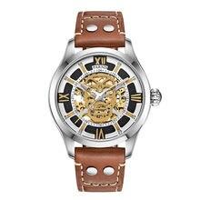 Parnis SKULL II Seriers Luminous Mens Leather Watchband Fashion Automatic Self Wind Mechanical Watch Wristwatch