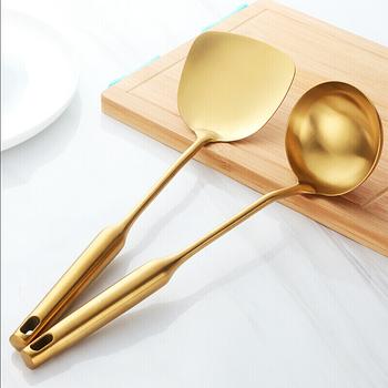 Szpatułka ze stali nierdzewnej łyżka do zupy zestaw żaroodporne non-stick narzędzie do gotowania długi uchwyt przybory i akcesoria kuchenne 2 sztuk zestaw tanie i dobre opinie Naczynia Tokarstwo Metal STAINLESS STEEL Ekologiczne E-SHOW golden rose gold sliver 34*9 5cm 37*9 5cm turner 208g spoon 211g