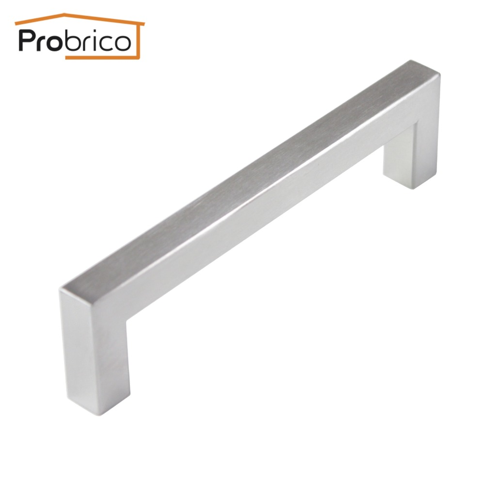 Probrico 12mm*12mm Square Bar Handle Stainless Steel Hole Spacing 128mm Cabinet Door Knob Furniture Drawer Pull PDDJ27HSS128 probrico 10mm 20mm square bar handle stainless steel hole spacing 128mm cabinet door knob furniture drawer pull pddj30hss128