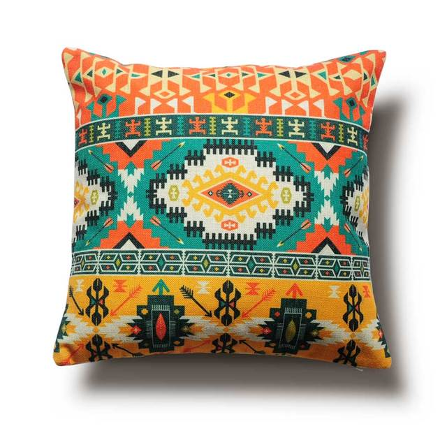 Colorful Ethnic Patterns Pillow Cover, Customizable, Bohemian Style Home  Cushions,Sofa Cushions,