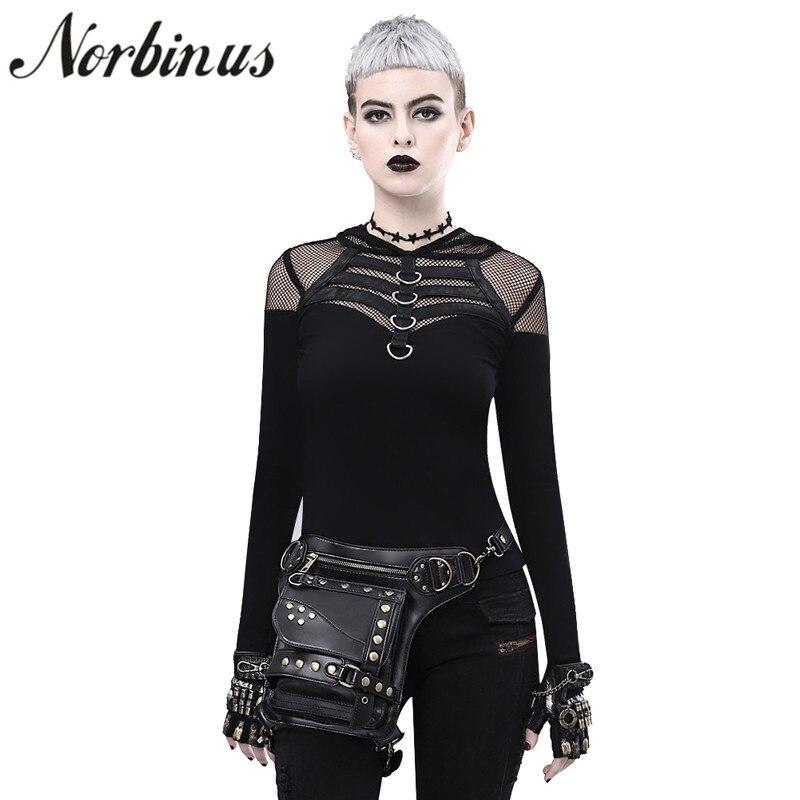 Norbinus Women Leather Rivet Steampunk Waist Bags Female Motorcycle Rock Crossbody Drop leg Thigh Holster Bag
