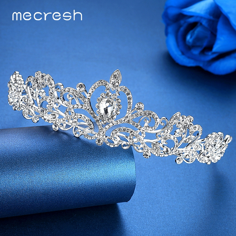 Mecresh Romantic Heart-shaped Crystal Bridal Crown Tiaras Luxurious Rhinestone Wedding Hair Accessories Engagement Jewelry HG012 crown shaped hair clip