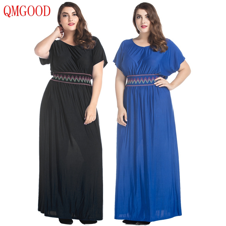 QMGOOD Women's Large Size Clothing 7XL Fat MM Party Long Dress In The Floor Summer Female Plus Size Dress High Waist 6XL 5XL
