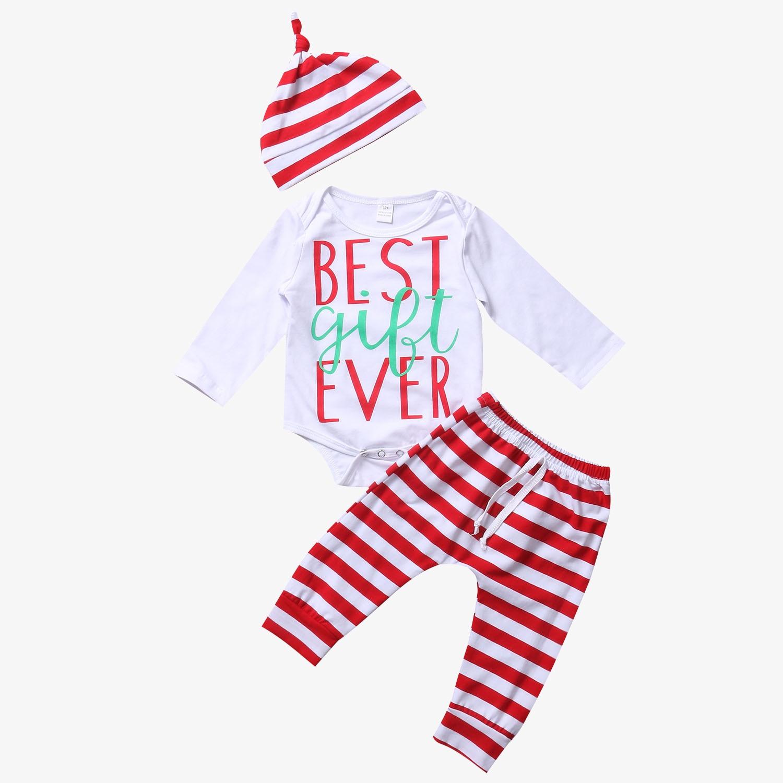 2017 New Newborn Baby Boys Girls Clothes Long Sleeve Romper Tops+Striped Long Pants+Hat 3pcs Cute Cotton Baby Set