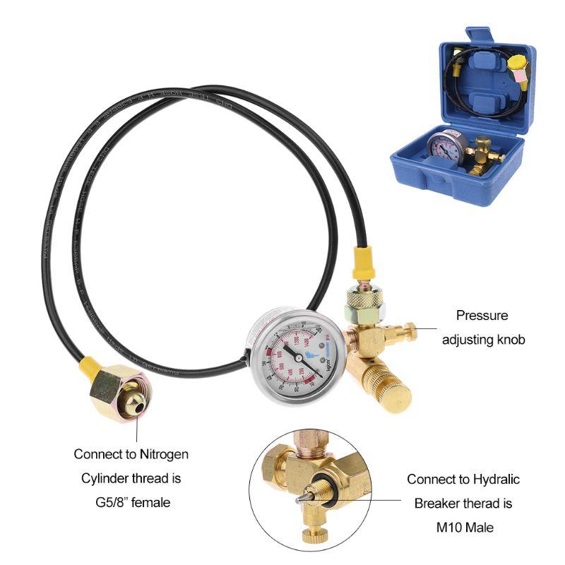Nitrogen Gas Charging Kit Device For Soosan Furukawa Hydraulic Breaker Hammer Pressure Gauge